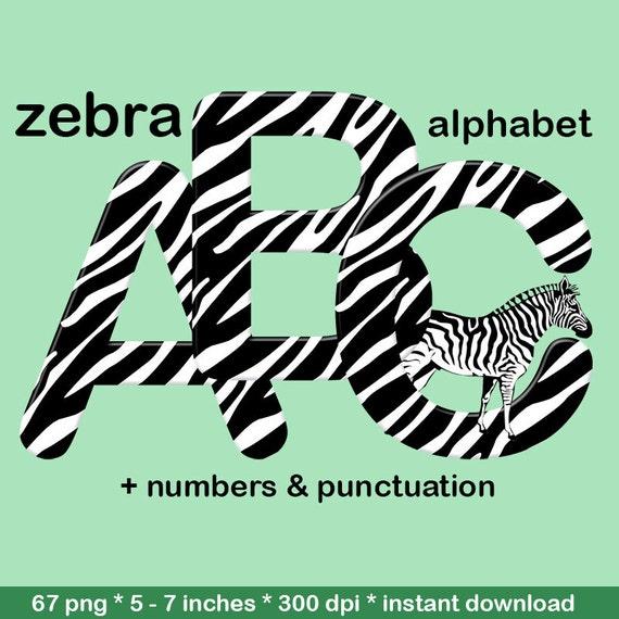 Zebra pattern alphabet clipart animal print font black Zebra 0 Font