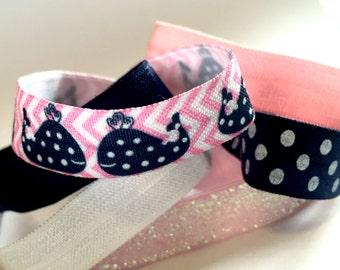 Preppy and Pink Hair Tie Set, Preppy Hair Ties, Whale Hair Ties, Pink Hair Ties, Navy Polka Dot Hair Ties, Navy and Pink Hair Ties