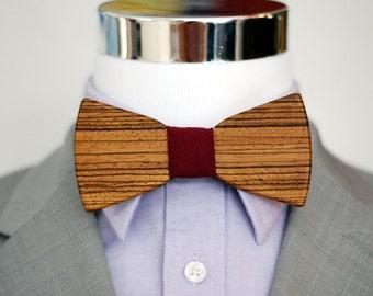 Zebra Wood Bowtie - Suits - Wood Bowtie - Men's Ties - Interchangeable Neck Strap