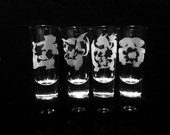 Pokemon Evolution Shooter Shot Glass Set of 4 -Pikachu -Charmander -Squirtle -Bulbasaur- Etched Shot Glass