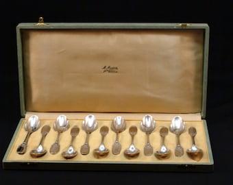 Antique French 950 Sterling Silver Spoon Set 12 Piece Set By Orfevreie Maillard