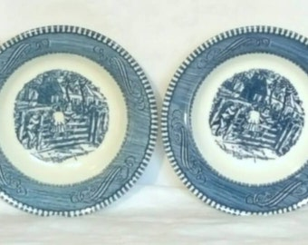 Currier and Ives Old Farm Gate Berry Bowl Set of 4, Royal, 1960's Kitchen, Blue and White China, Berry Bowl Set of Four, Royal China