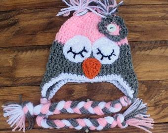 Crochet Grey/Pink Infant Owl Hat - Size 0-3 Months