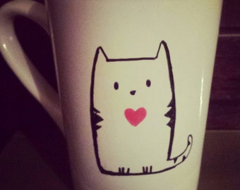Cat Lover 14 oz white coffee mug
