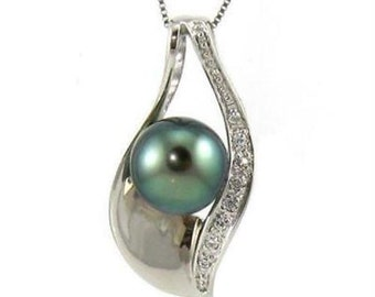 8-9mm 100% Authentic Tahitian Pearl 925 Silver Pendant BP82718STA