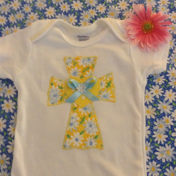 Baby girl cross appliqué onesie bodysuit
