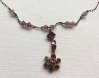 Vintage Art Deco Purple Glass Necklace Simulated Amethyst Gold Tone 1930s Costume Jewelry