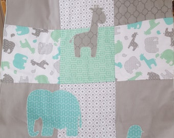Flannel baby blanket, quilt, with elephants and giraffes, in gray and teal