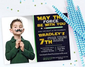 Star Wars Birthday Invitation - Picture Invites - light saber, stars, black yellow green, star wars birthday invitations