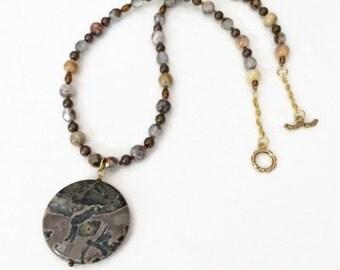 Jasper Pendant Necklace Beaded Pendant Necklace Beaded Boho Necklace Beaded Stone Pendant Necklace Fall Necklace Brown Pendant Necklace