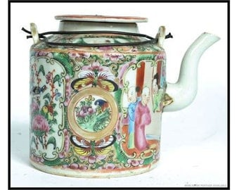 Beautiful 19th Century Chinese Hand Painted Famille Rose Medallion Teapot