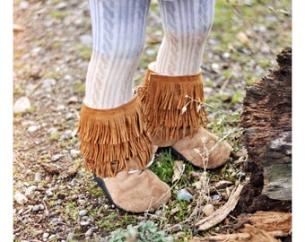 Caramel/Thin Fringe Bootie Boots