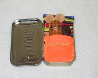 Caramel Plaid Mouse Deluxe Travel Wee Tin Mice in a Box Make a Great Gift!