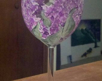 Lilac hand painted wine glass