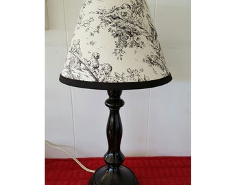 Black and Off White Toile Lamp Base and Shade