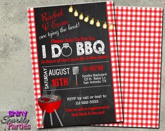 "I DO BBQ Invitation - Printable ""Couples Shower Invitation"" - Engagement Party Invite - Engagement BBQ Invite - Shower Invitation - Gingham"