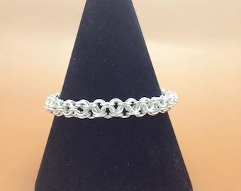 Handcrafted Sterling Silver Turkish Round Chainmaille Bracelet, Hallmarked.