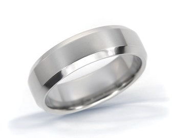 Beveled Edge Ring, Titanium Ring, Mens Wedding Band