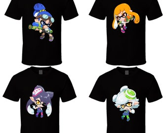 Splatoon - Inklings / Squids - Choose a Character - Black T-Shirt