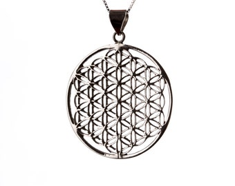 Flower of Life Sterling Silver Pendant Necklace Spiritual jewellery Yogi Jewellery Geometry Jewellery Handmade Free UK delivery