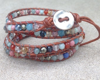 Multi Stone and Crystal Wrap Bracelet on Brown Leather