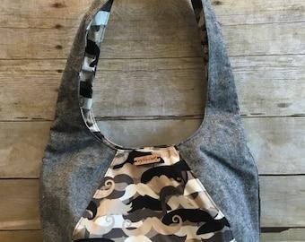 Reversible hobo bag, Mustache purse,  Brown shoulder bag, Laney bag, Swoon bag, Mustache handbag