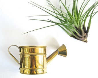 Vintage Brass Mini Watering Can •  Vase • Votive Tea Light Candleholder • Planter Brass Accent