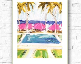 Swimming Pool Print, Home Decor, pink abstract, blue abstract, wall art, watercolor