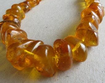 Antique Golden Yellow Butterscotch Amber Bead Necklace