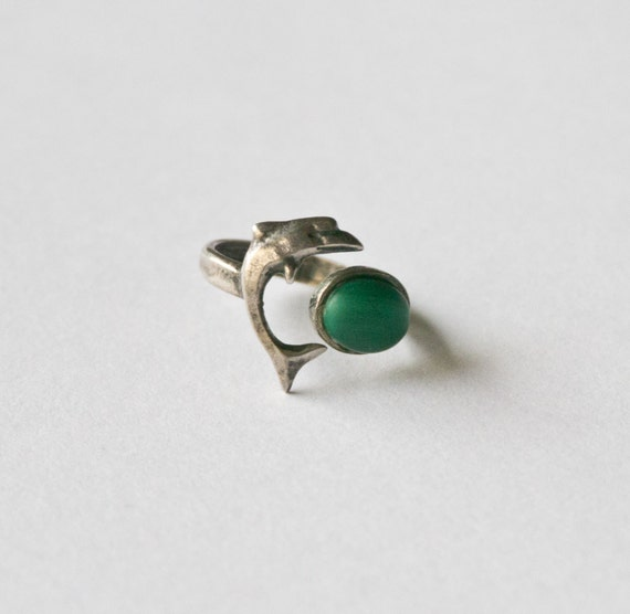 Vintage Petite Malachite Ring with Silver Dolphin Sz 6.5