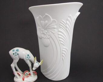 Vintage bisque porcelain vase white by AK Kaiser, design M. Frey, West Germany, 70s, flower relief