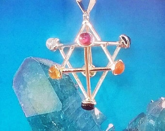 Unique SILVER 3D MERKABA PENDANT With 7 Chakra Gemstone Crystals and Silver Chain, Sacred Geometry. Amethyst, Carnelian, Peridot, Garnet