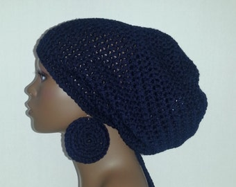 Crochet Tam with Drawstring and Earrings, Large Rasta Tam - Navy Blue Large Slouch Hat and Earrings Set, Navy Dreadlock Tam and Earrings