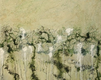 Large Abstract Acrylic Painting Textured Painting Green Painting Beige Painting Modern Art Contemporary Art