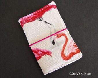 Flamingoes Credit card wallet. Handmade.