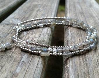 Multi strand Labradorite beaded bracelet, handmade jewelry, beaded bracelet, semi precious gemstones, three strand bracelet
