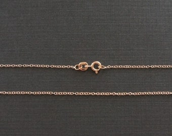 Rose Gold Chain, Gold Plated,Jewelry Chain, Cable Chain, Finished Chain, Dainty Chain, Tiny Necklace, 18 inch, 1.3mm, Fast Shipping from USA