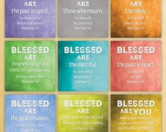 Beatitude Canvas (Matthew 5:3-11)