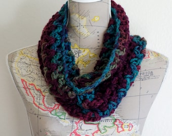 Beautiful Cozy Purple/Teal/Green Multi Colored Cowl Neck Warmer Scarf
