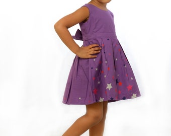 Purple star print frock