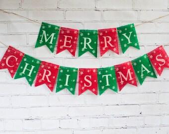 Red & Green Merry Christmas Banner, Christmas Burlap Banner,  Merry Christmas Burlap Banner, Christmas Decor, Holiday Decor, B232