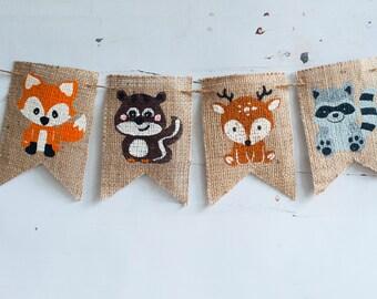 Woodland Animals Banner, Fox Banner, Squirrel Banner, Deer Banner,  Racoon Banner, Woodland Animals Party, B263