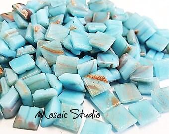Baby Blue Gold Thread Tiles 10x10x4mm x100pc