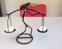 Chinese figure candle holder 1950s 'Atomic' wirework  22cms high.