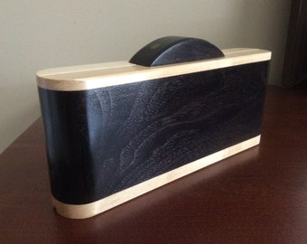 Art Deco Black and White Wooden Clutch made from Maple and Black Walnut