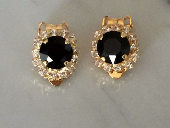 Jet Black & Clear Crystal Halo Clip On Earrings, Yellow Gold