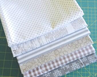1 Yard Gray and White Bundle mixed Fabrics- 6 Fabrics