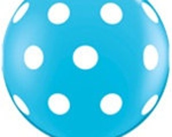 BALL00N R0BIN'S EGG BlUE P0LKA D0T 3' Latex HUGE Oversized Balloon -Photo Prop, Birthday, Table Decor, Party Supplies