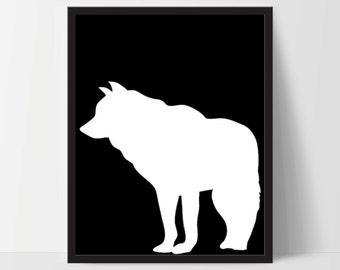 Animal Wolf Wall Art, Unframed, Artwork, Home Decor, Modern Contemporary, Print Art, Boho, Nursery, Baby, Black, 12x16 Inches