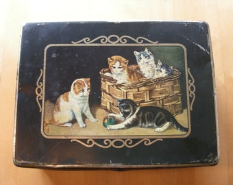 Vintage Kambly Cookie Tin with cats